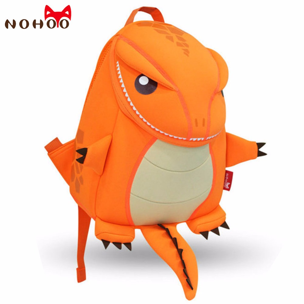 NOHOO Orange Green Dragon Kids Baby Cartoon Waterproof School Bags 3D Animals Backpack For Girls Boys Cute Dinosaur School Bags nohoo waterproof cute cats animals baby backpack kids toddler school bags for girls children school bags kids kindergarten bag
