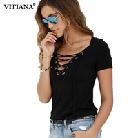 VITIANA 2017 Womens Short Sleeve T Shirt Girls Black Blue White Hollow Out Loose Summer Casual
