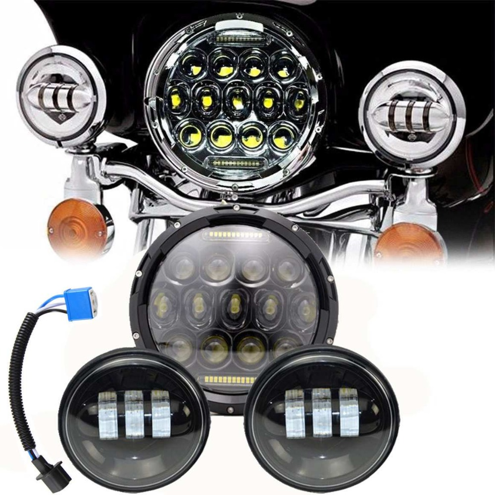 DOT Approved Daymaker 7 Round LED Headlight w/ White DRL Hi/Lo Beam + Pair 4.5 Fog Passing Lights Lamp For Harley Touring