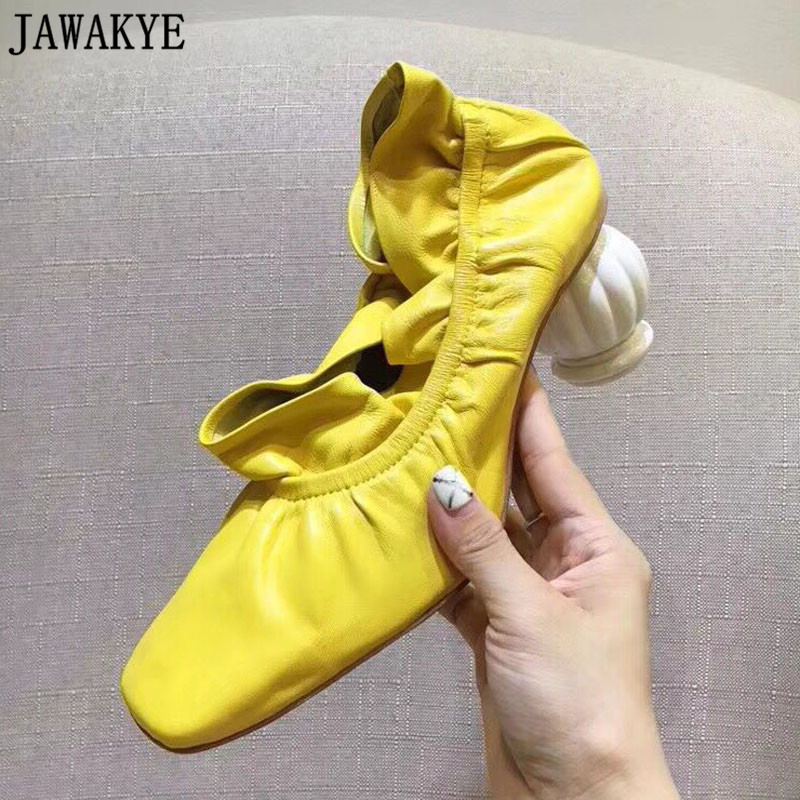 Autumn wrinked ruffles Shoes Women candy color soft sheep skin strange high Heels 2018 Runway style