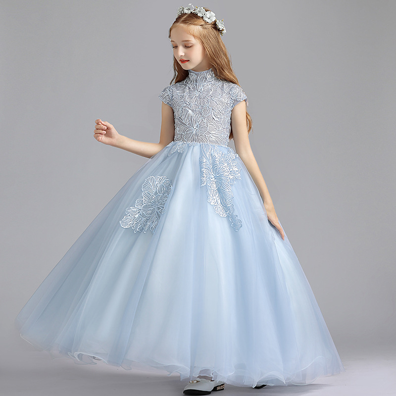 New   Flower     Girl     Dresses   Appliques Ball Gown First Communion Piano Performance   Dress   Children's Birthday Party Evening   Dress