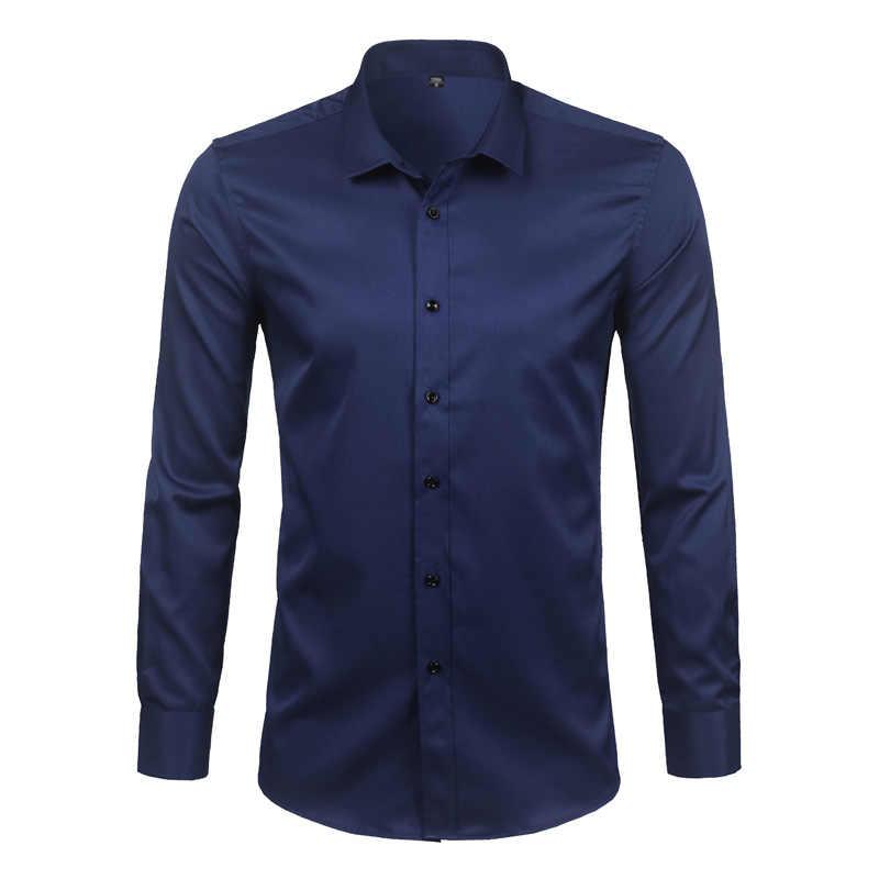 高品質竹繊維メンズドレスシャツ2018春新ロングスリーブソリッド社会シャツ男性作業カジュアルシュミーズオム4xl