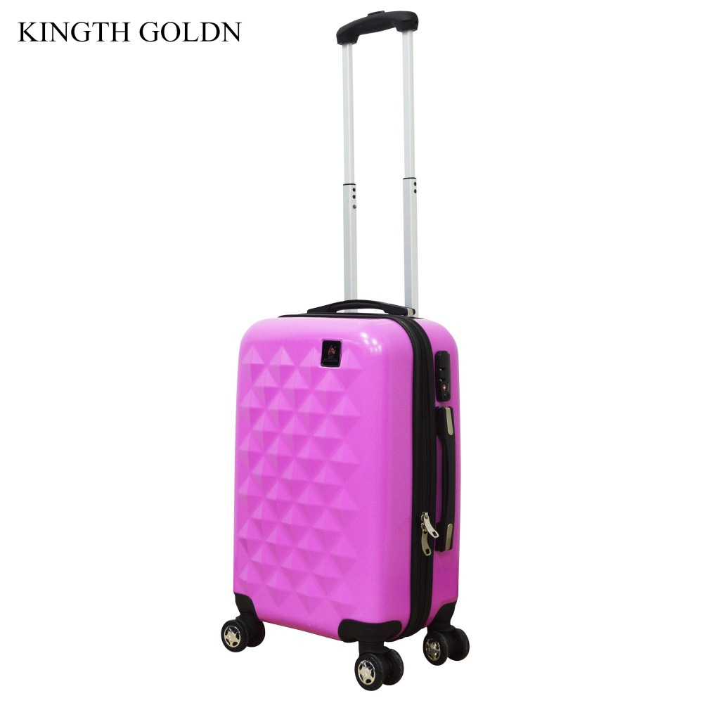 KINGTH GOLDN Women ABS+PC Luggage Box Rolling Hardside Travel Suitcase with Wheel Fashio ...