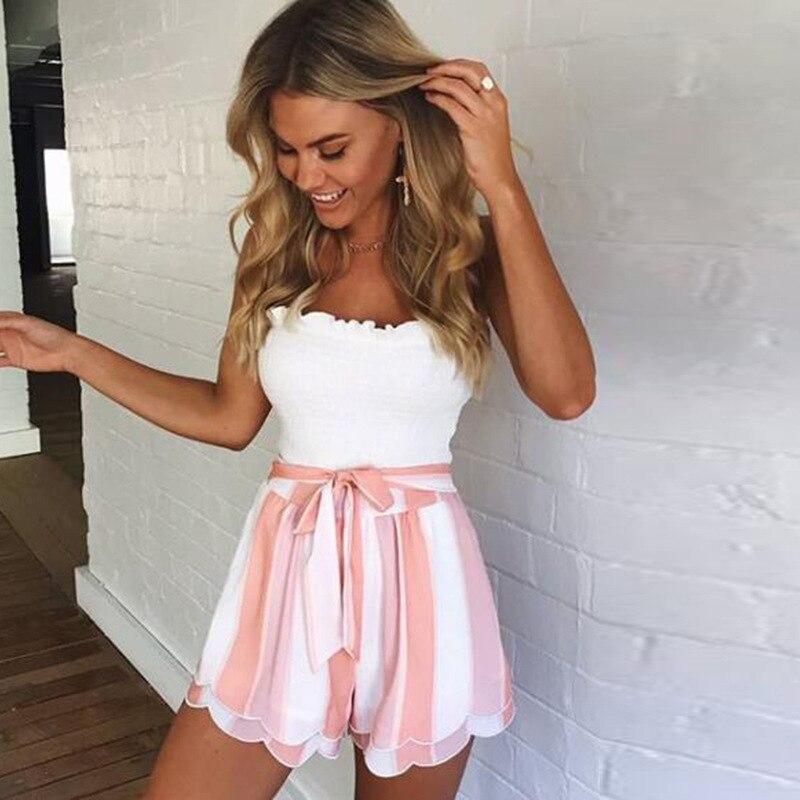 Vertical Striped Elastic Waist Self Tie Front Shorts Womens Pink High Waist Shorts Summer Straight Shorts Women Bowknot