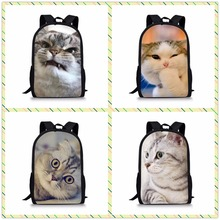 FORUDESIGNS Cute Cat Printed School Bag for Girls Boys Black Backpack Kids Children Bookbag Students Mochila Customize Image