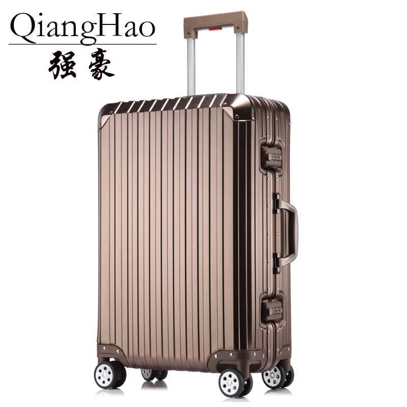 100% все алюминиевый сплав чемодан Hardside Прокат троллейбусов дорожного чемодана  20 вести 25 29 проверено 240be720674