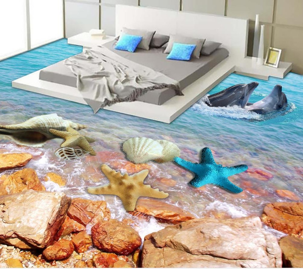 Buy 3d floor wallpapers seaside scenery for 3d murals for sale