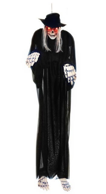 US $39 99 |1Piece Light Up Skull Halloween Skeleton/63inch Grim Reaper  Sound Activated Hanging Ghosts-in Figurines & Miniatures from Home & Garden  on