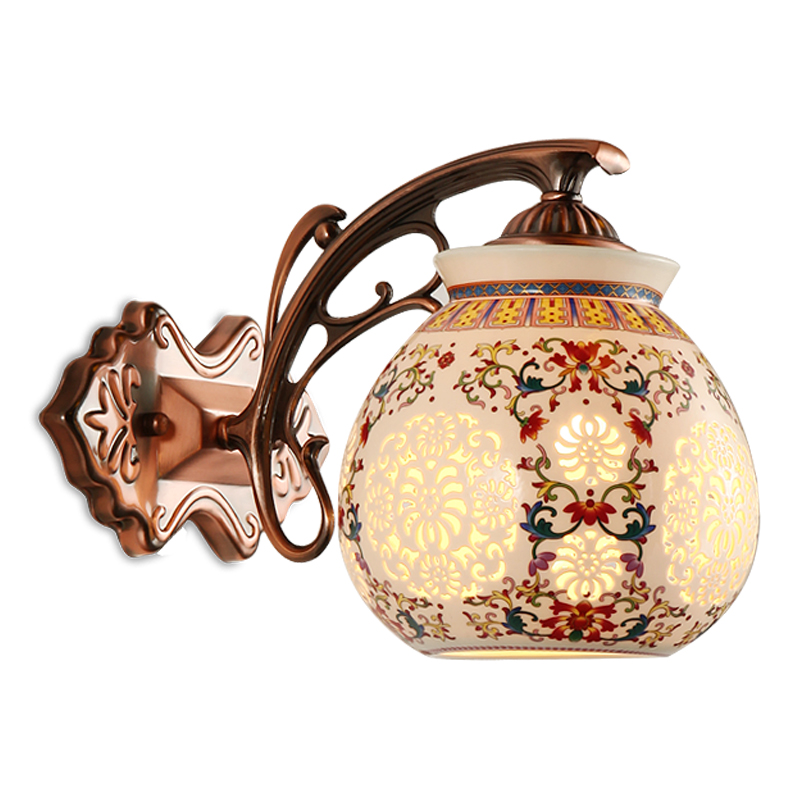 Chinese wall lamp originality, classical ceramic wall lamp, living room aisle corridor, wall lamp, 8048 bedroom bedside wall lam the new chinese iron wall lamp bedside lamp wall lamp rectangular chinese bedroom living room antique hotel wall light