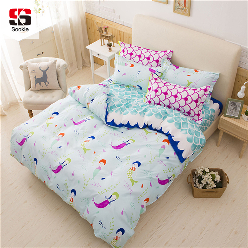 Sookie Pink Bedding Sets For Girls Cute Mermaid And Scales Pattern Printed Comforter Duvet Cover Set Pillow Cases Blue