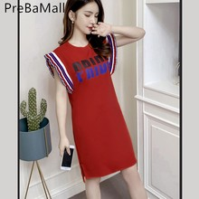 Fashion Sport Women Dress 2019 New Arrival Letter Print Sleeveless Summer O neck Casual Loose Mini Dresses Vestidos C187
