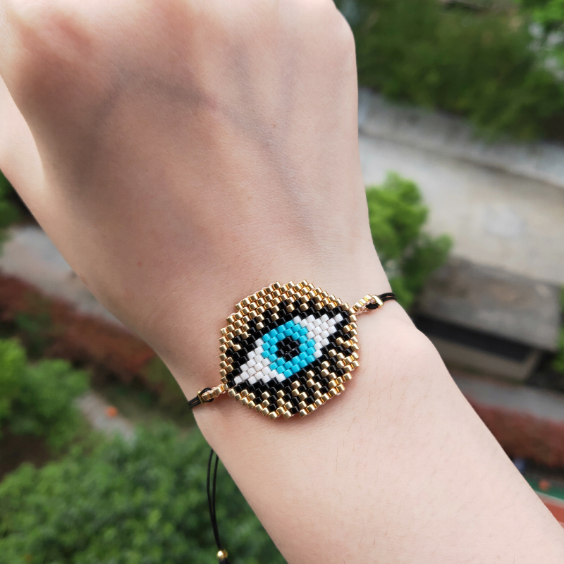 FAIRYWOO Vintage Eye Bracelets Miyuki Jewelry Handmade Gifts For Women Drawstring Rope Bracelet Fashion Dresses Dangle Charms