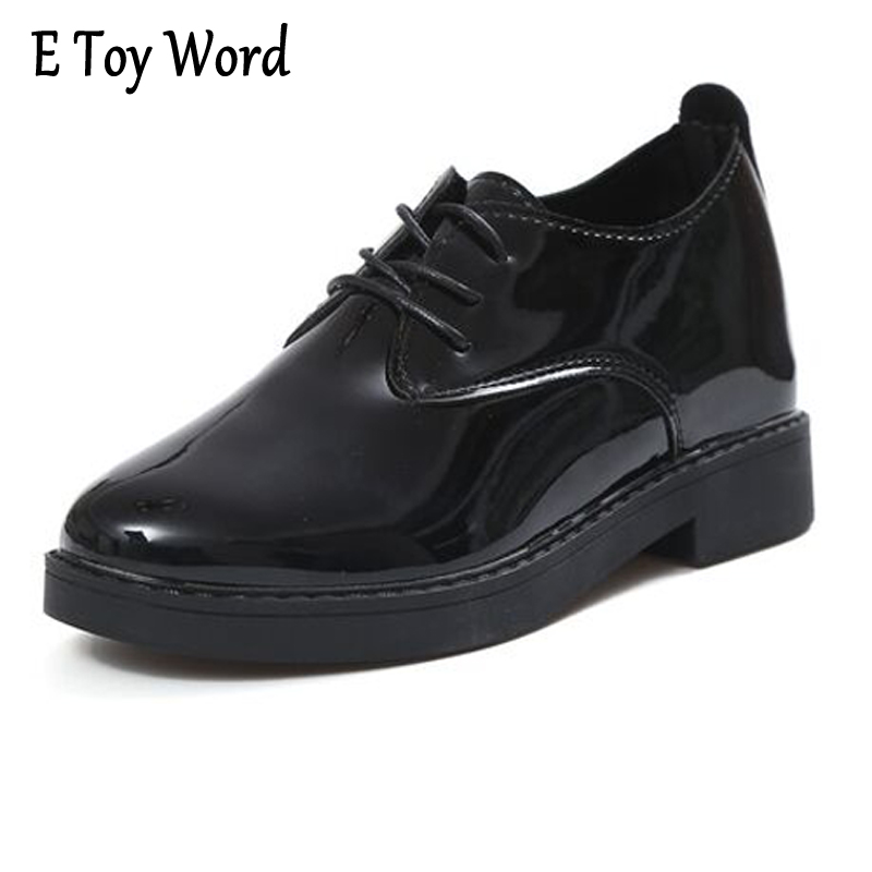 E TOY WORD Patent Leather Flats Women Oxfords British Style Spring Platform Shoes Casual Lace-Up Ladies Brogue Shoes Woman XWD36 n11 brand 2017 spring women platform shoes woman brogue patent leather flats lace up footwear female flat oxford shoes for women