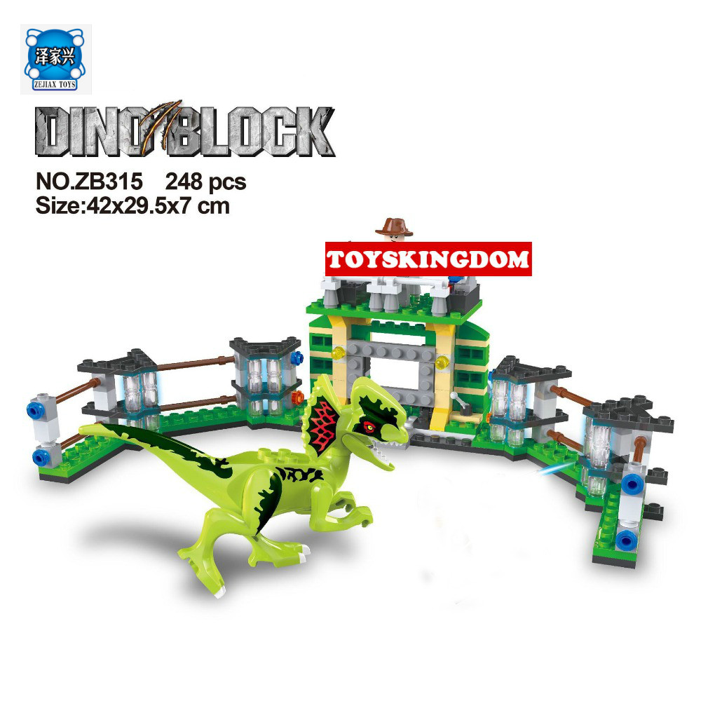 Hot Jurassic World Dinosaur Park Dilophosaurus Training Base compatible Lepins Building Block Trainer Figures Bricks Toys 2 sets jurassic world tyrannosaurus building blocks jurrassic dinosaur figures bricks compatible legoinglys zoo toy for kids