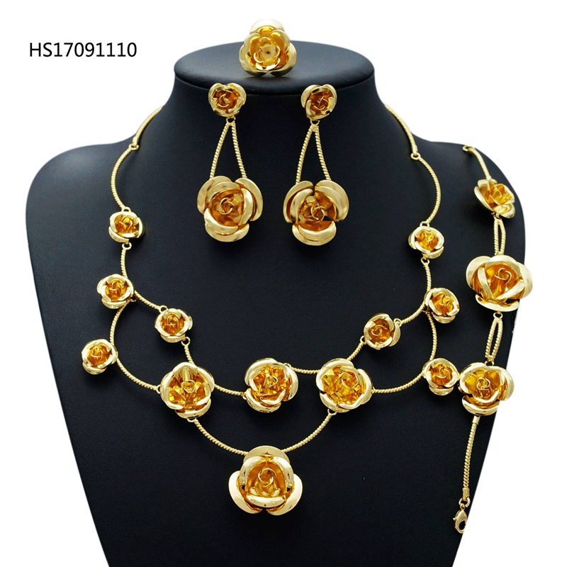 YULAILI 2018 New Fashion African Beads Jewelry Set Exquisite Carved Pure Gold Color Accessories Nigerian Wedding Bridal Bijoux yulaili new coming pure yellow flower bridal wedding jewelry set nigerian ladies party wedding accessories