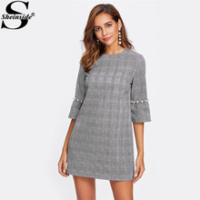 Sheinside Pearl Beading Flare Sleeve Plaid Dress Ladies Grey A Line 3/4 Sleeve Elegant Winter Dresses Women Mini Party Dresses(China)