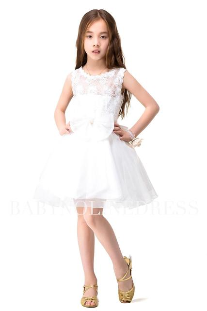 ec9952b313b Kids Prom Dresses Sweet A line Short Lace Flower Girl Dresses 2017 Short  White Pageant Dresses