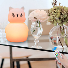 цена Touch Sensor 9 Colors Mice Cat LED Night Light Remote Control Timer Dimmable USB Silicone Bedroom Bedside Lamp for Children Baby