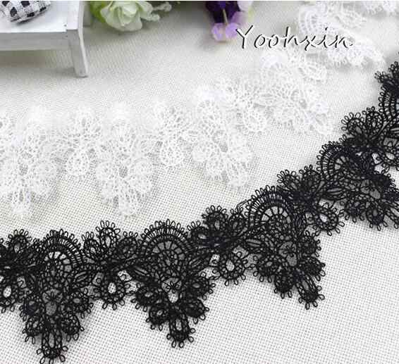 6.5cm wide HOT white black cotton embroidery Lace Ribbon fabric 3D trim collar sewing DIY tassel guipure dress applique decor