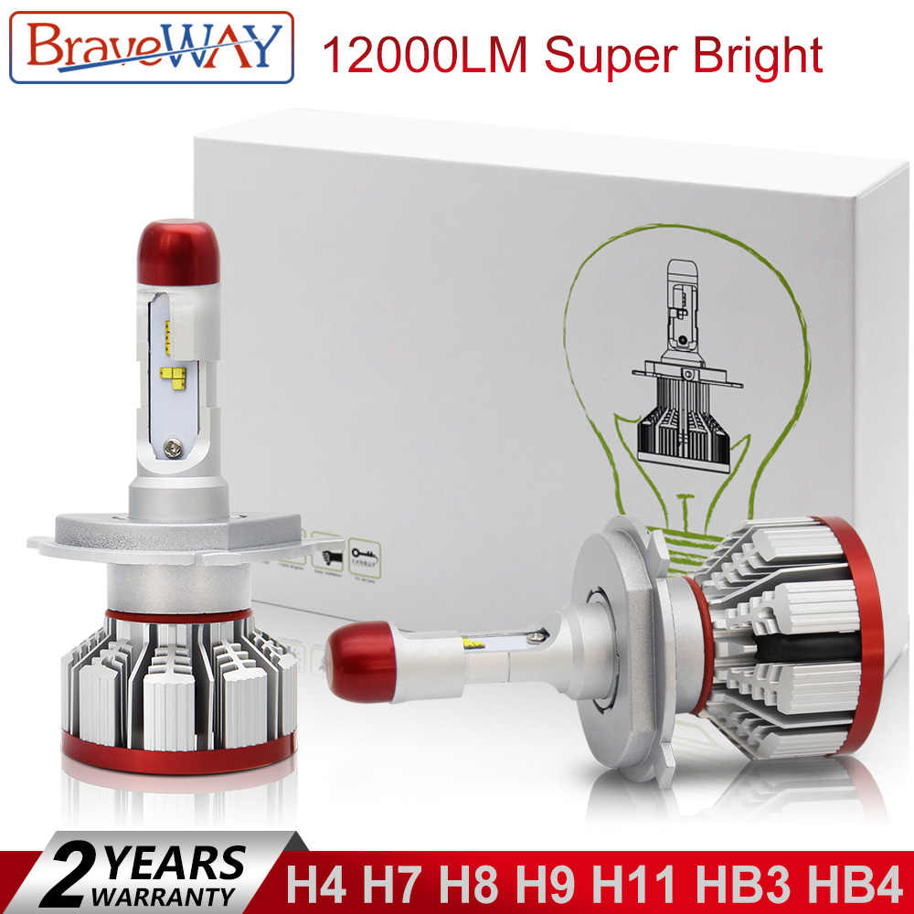 BraveWay 12000LM Car Light Bulbs H4 H7 H8 H9 H11 HB3 HB4 9005 9006 LED Lamp H7 LED Canbus H11 LED Car Lamps Turbo Bulbs for Auto