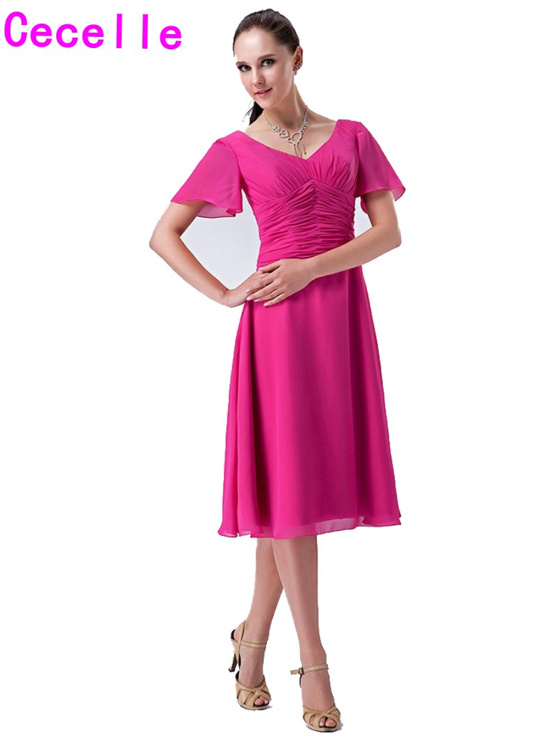 Real Fuchsia Short Modest   Bridesmaid     Dresses   With Sleeves Pleats Chiffon A-line Knee Length Informal Beach   Bridesmaid   Robes New