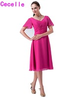 Real Fuchsia Short Modest Bridesmaid Dresses With Sleeves Pleats Chiffon A line Knee Length Informal Beach Bridesmaid Robes New
