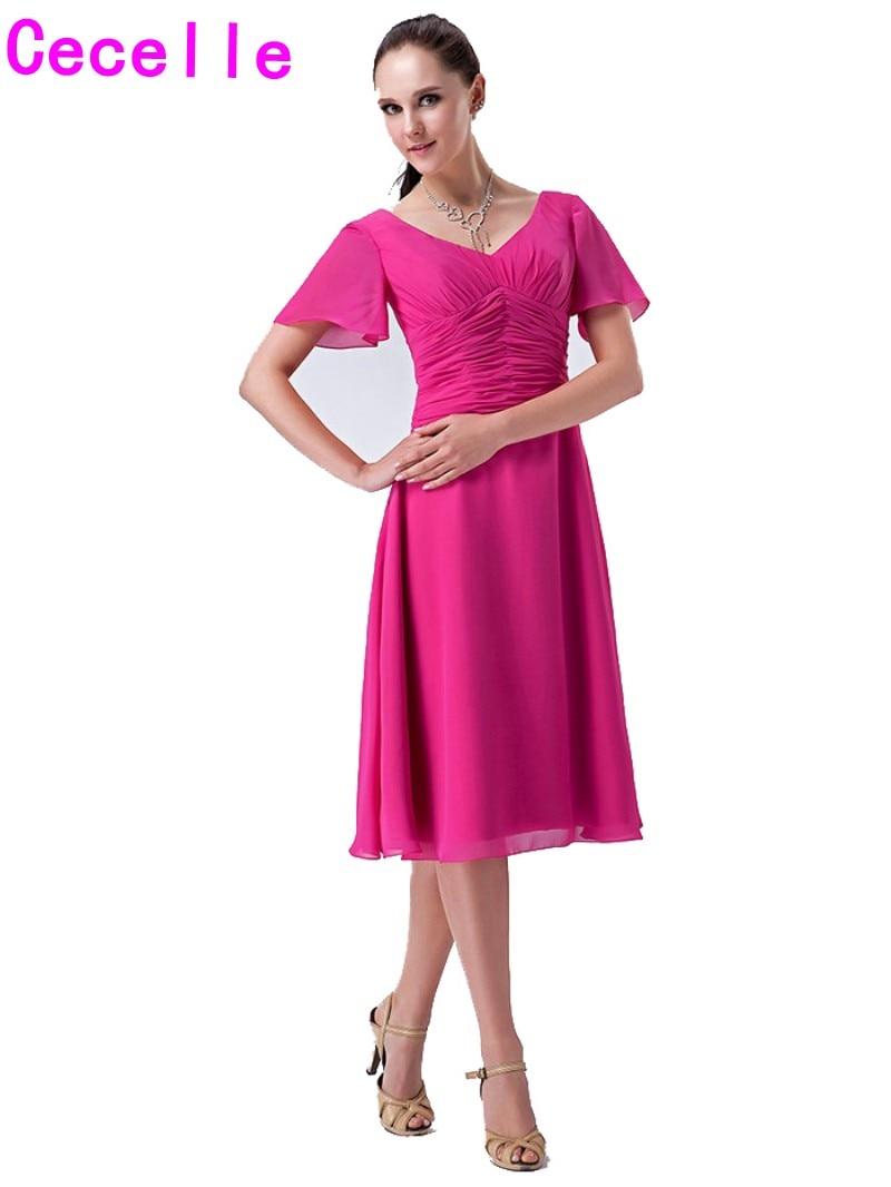 Real fucsia corto modesto Vestidos de dama de honor con mangas ...
