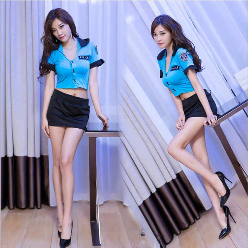 f86852a4c5dd Halloween Policewoman Costumes Adult ladies Short Sleeve Blue Female  Officer Cop Costume Uniform Party Sexy Police