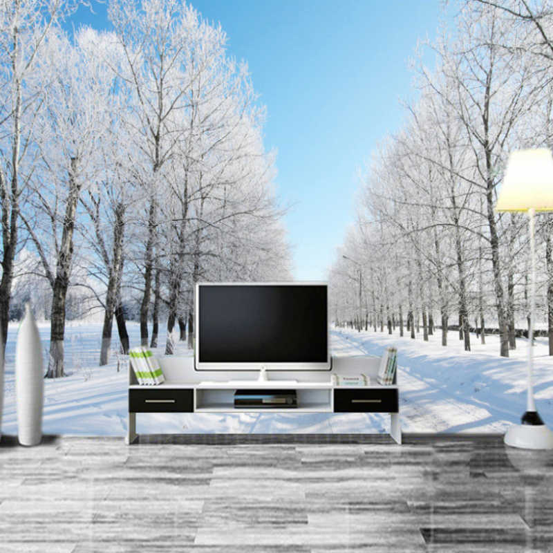 Custom 3D Room Landscape Wallpaper Mural Natural Winter Scenery Snow Road White Tree On The Sides Wall Mural Wall Paper Bedroom