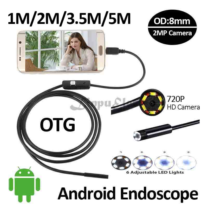 HD720P 2MP Android OTG USB Endoscope Camera 8mm 5M 3.5M 2M 1M Flexible Snake USB Pipe Inspection Borescope Android USB HD Camera headset bullet usb otg compatible android smartphones digital camera