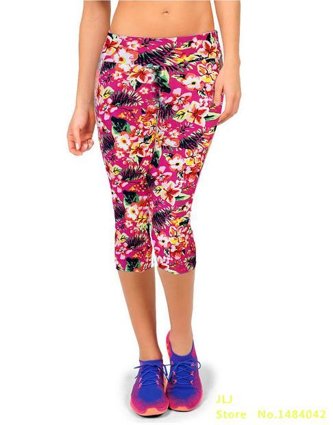 Новинка, 14 цветов, летние женские модные трикотажные хлопковые леггинсы на талии с принтом, леггинсы на талии, семь точек - Цвет: K058 NO 8