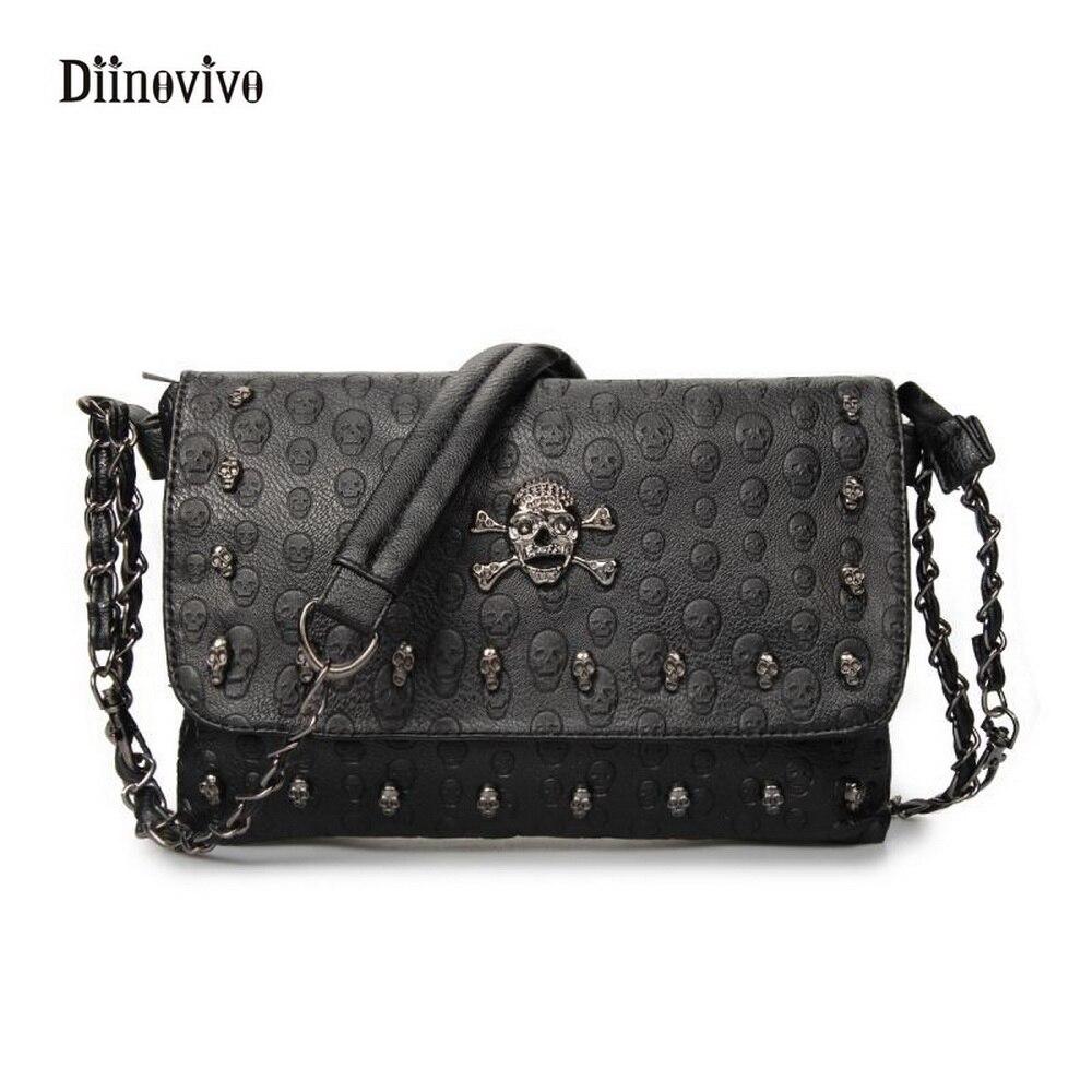 DIINOVIVO Simple Brand Fashion Envelope Bag Luxury Leather Women Chain Clutch Bag Rock Style Rivet Messenger Bags WHDV0070