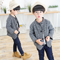 High qualityNew Boys Winter Coat Fashion Double Breasted Solid Navy gray Kids Wool Coats Jacket Boys Children Outerwear