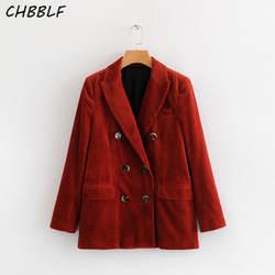 Chbblf женские элегантные Вельветовая куртка Блейзер карманы двубортный Длинные рукава женский формальный верхняя одежда для офиса S1707
