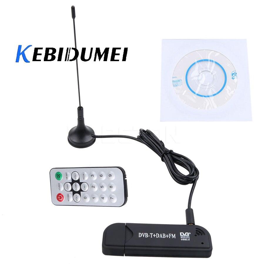 Антенна kebidumei USB DVB-T + ключ тюнер приемник DAB + FM + SDR RTL2832U + FC0012 цифровая HD ТВ-карта DVBT антенна спутниковый ресивер