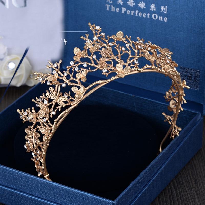 2017 New Trendy Vintage Gold Flower Bridal Crown Rhinestone Tiaras for Women Wedding Hair Accessories wholesale