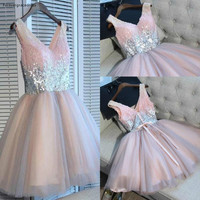 2019 Cheap Short Pink Homecoming Dress Summer A Line Sequins Juniors Sweet 15 Graduation Cocktail Party Dress Plus Size