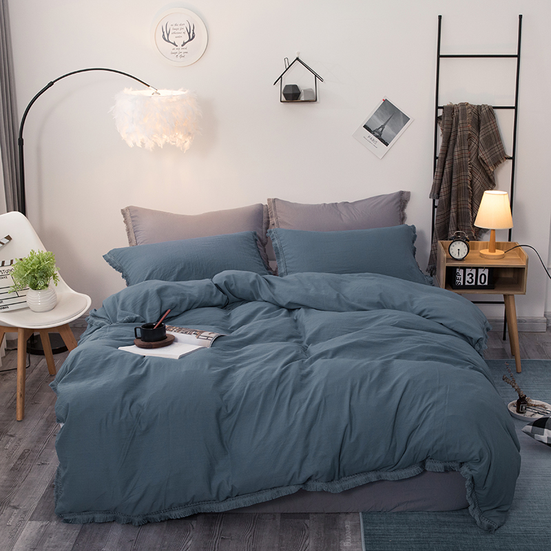 Pure Color Washed Cotton Bedding Set 3pcs Quilt Cover Pillowcases  Comforter Bedding Sets Bed Linen Bed Set Bedclothes 7 Size