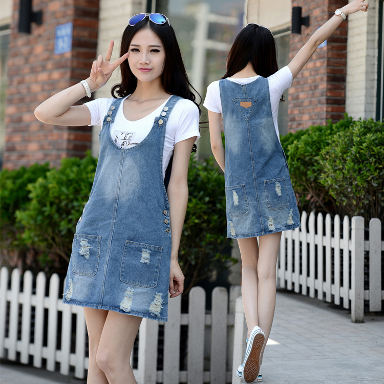 0e8bced197a Summer Fashion Women Girls Casual Slim Jean Denim Overalls Jumper Mini  Denim Shirt Dress Overall Denim Skirt Dress Free Shipping