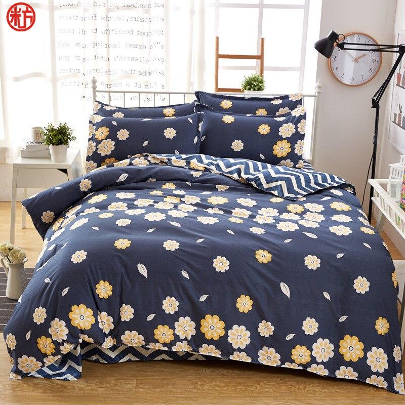 Winter style Bedding set flower bed linens 4pcs/set pastoral bed set Adult duvet cover + flat sheet + pillowcase bed cover set