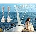 Корейский моды темперамент дикий кисточкой висит капли серьги идеальный круг жемчужные серьги 925 серебряные ювелирные изделия женщина E417