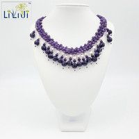 Natural Stone Amethyst Real Natural White Freshwater Pearl Jade Toggle Clasp Necklace Fashion Women Jewelry