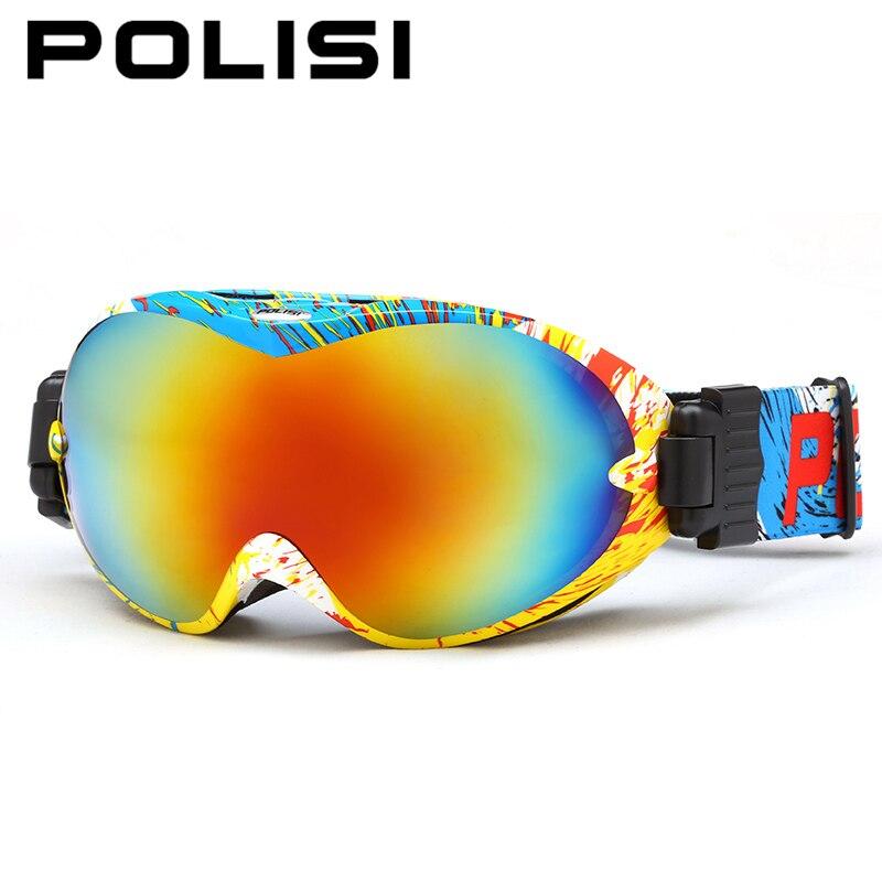 Polisi ski snowboard gafas de doble capa anti-vaho grande esférico lente gafas e