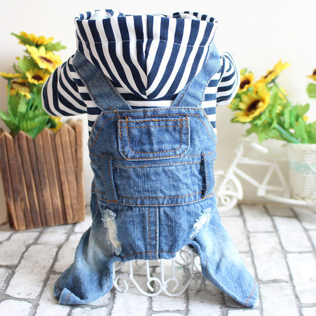 2017 Spring And Summer Teddy Bichon Dog Pet Clothes Cowboy Leotard Striped Four Legs Jeans Dog Clothes 1