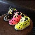 Nueva lindo flash de la historieta del cabrito del bebé de la zapatilla de deporte estilo mickey mouse dot impermeable shoes para 1-6yrs niños muchacho de las muchachas al aire libre shoes caliente