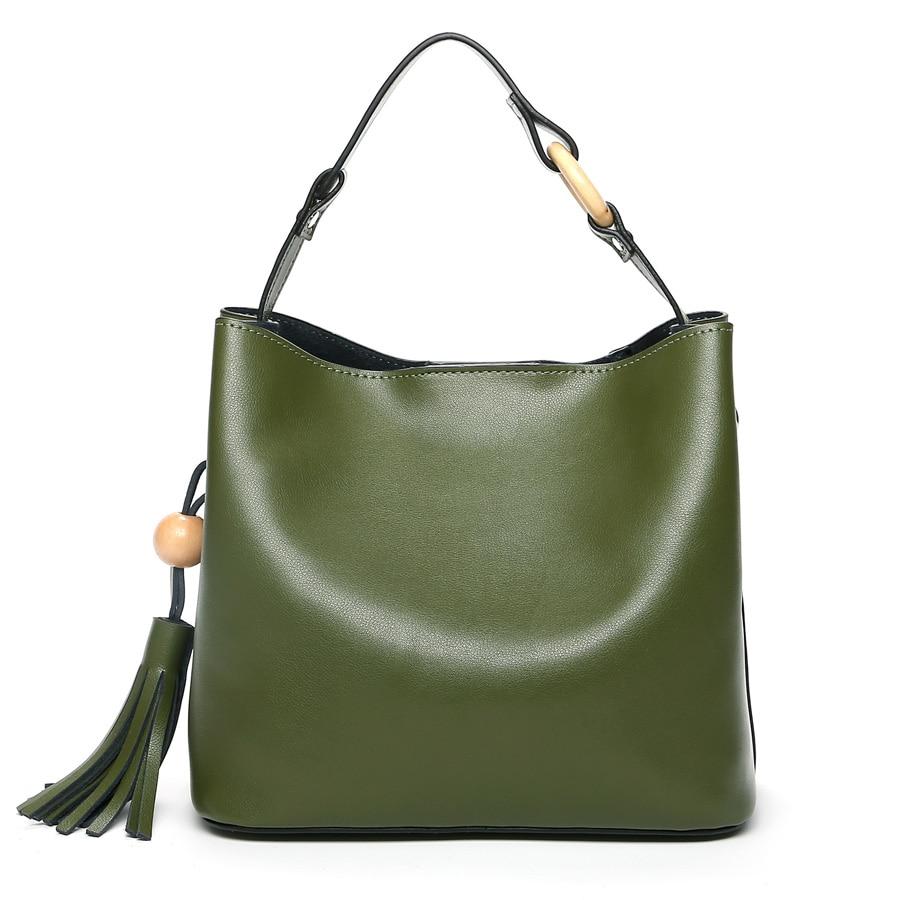 Genuine Leather Women Handbag Design Shoulder Bag Female Tassel Bucket Tote Bag Crossbody Bag