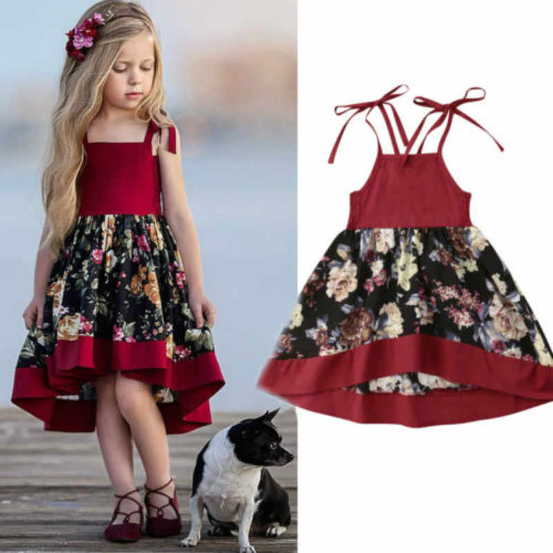 Toddler Baby Girls Stap Dress Party Tull Princess Pageant Floral Dress Sundress
