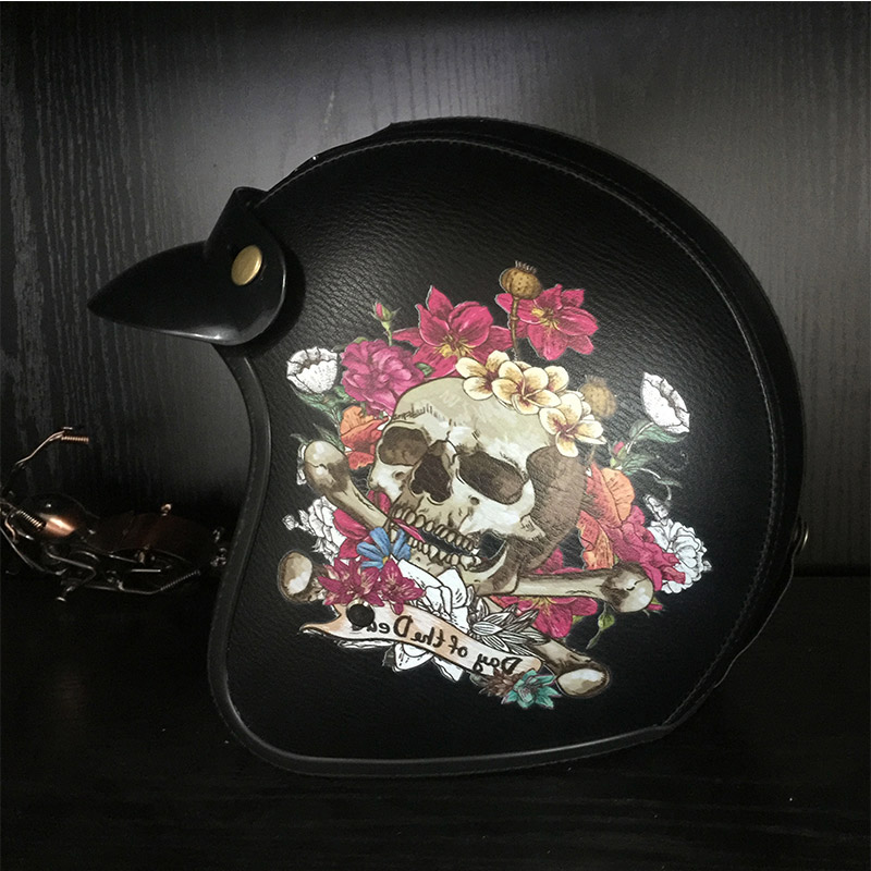 Indian and skull harley leather helmets vintage retro 3/4 open face motorcycle helmet scooter headpiece moto Dot Approved