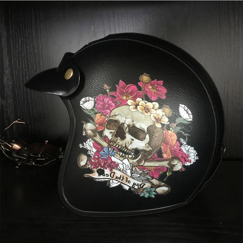 Indien et crâne harley casques en cuir vintage rétro 3/4 open face moto rcycle casque scooter casque moto Approuvé Dot