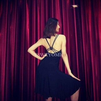 2019 Backless Suspenders Women Girls Cha Cha Rumba Samba Tango Dance Black Cotton Practice skirt One Set Latin Dress For Lady